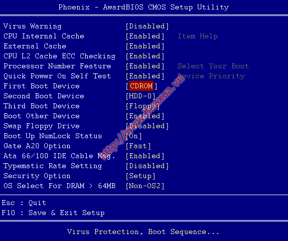 Cách thiết lập khởi động từ CD-ROM cho máy vi tính - BuaXua vn