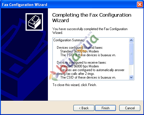 Completing the Fax wizard