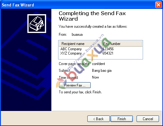Completing send fax wizard