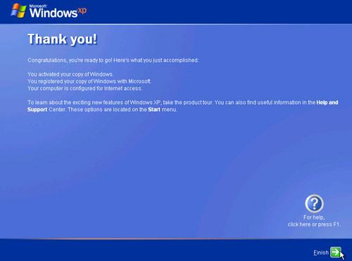 Finish install windows XP