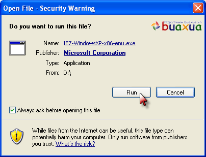 Run Security warning