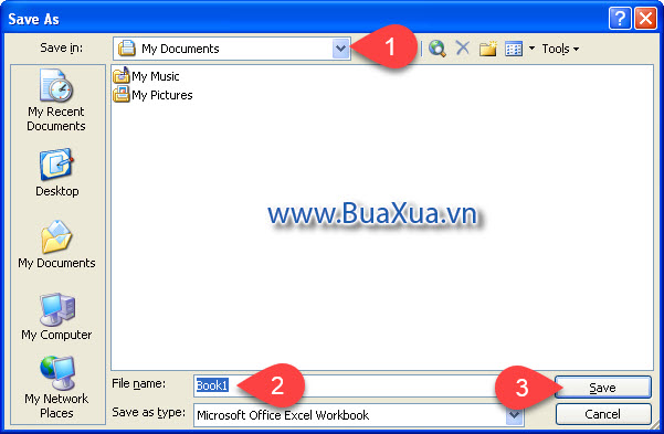 Hộp thoại Save As Excel 2003