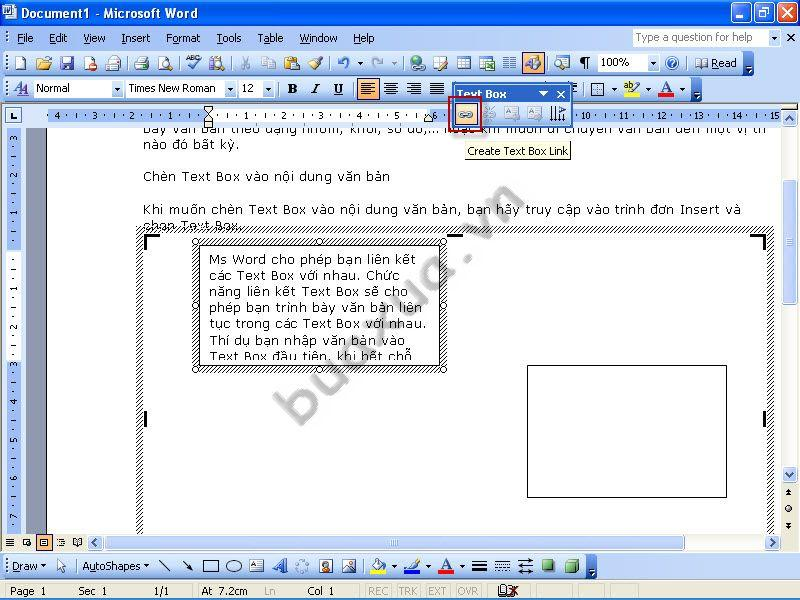 how to create a text box in word