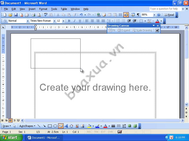 Tạo một khung văn bản nằm bên ngoài khung vẽ (Drawing Canvas)