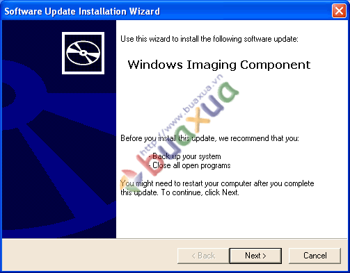 Cài đặt Windows Imaging Component