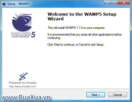 Cửa sổ Welcome to the WAMP5 Setup Wizard