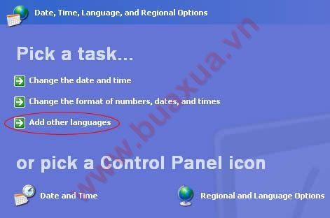 Date, Time, Language and Regional Options