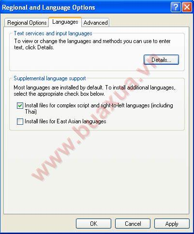 chọn Install file for complex script and right-to-left languages (Including Thai)