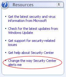 chọn Change the way Security Center alerts me