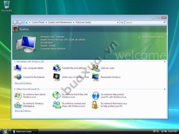 Cửa sổ Welcome Center của Windows Vista