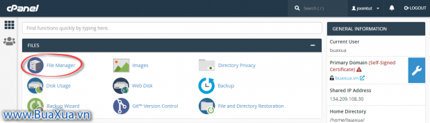 Chọn File Manager trong cPanel